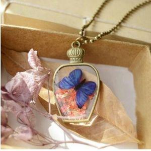 Butterfly + Dried Flower Moon Bottle Pendant